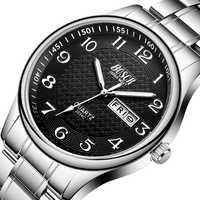 De los hombres de lujo acero Relojes de moda reloj pulsera de cuarzo impermeable fecha Hombre reloj Relogio Relojes Para Hombre