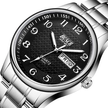 Zegarek męski luksusowe zegarki ze stali moda zegarek kwarcowy wodoodporny data mężczyzna zegar Relogio Masculino Relojes Para Hombre tanie i dobre opinie BOSCK Moda casual Składane zapięcie z bezpieczeństwem 3Bar QUARTZ STAINLESS STEEL 23cm Hardlex 10mm 20mm ROUND Kwarcowe Zegarki Na Rękę