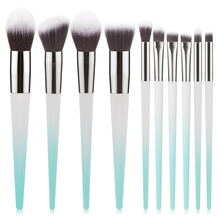 купить RANCAI 10Pcs Women Makeup Brushes Set Multicolor Powder Foundation Brush Eyeshadow Eyeliner Lip Make Up Brushes pincel maquiagem дешево