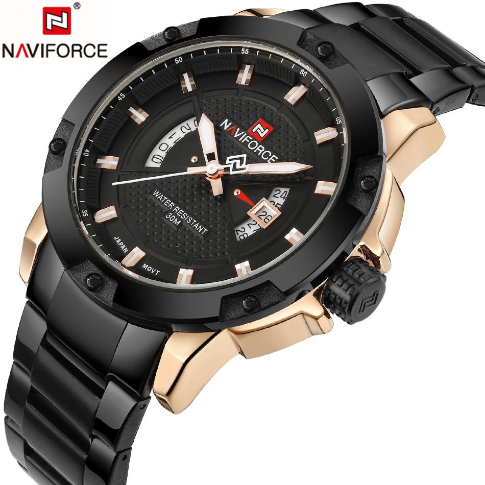 Prix pour Mens montres haut marque de luxe naviforce mode quartz montre hommes étanche en acier plein or montres relogio masculino