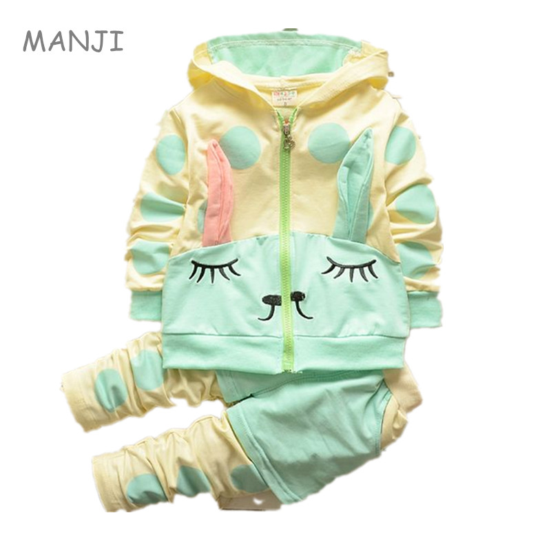 On Sale 2018 Spring new fashion baby girls clothing set hooded nice cotton with rabbit ear design A027