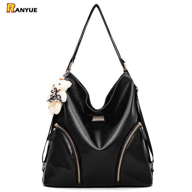 Black Hobo Women Bag Double Shoulder Bags For Pu Leather Handbags Las Hand Large