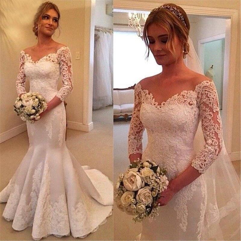 AIXIANGSHA Mermaid Long Wedding Dress Vintage Lace Appliques 3/4 Sleeves vestido de noiva 2019 Wedding Dresses Custom made gowns