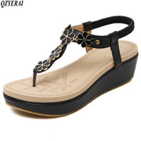 QZYERAI Summer 2018 young and beautiful comfortable wedges water drill flowers single shoes sandals Rubber sandals black size 40