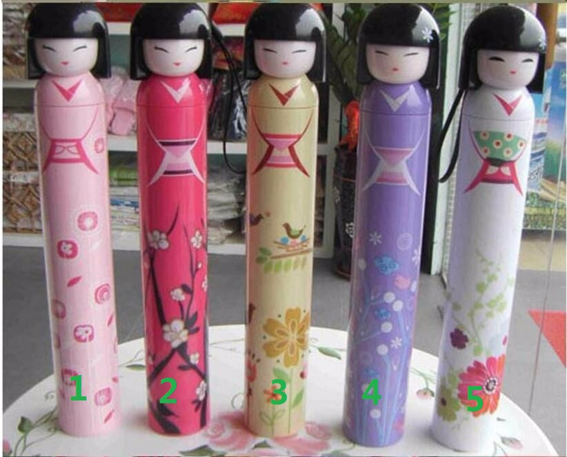 Novelty Kokeshi Doll Folding Umbrella Japanese Dolls Cute Bottle Folding Kimono Girl Traditional Umbrella - 9 Colors