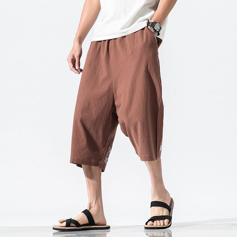 Treu Chinesischen Stil Männer Lose Baumwolle Leinen Stickerei Kalb-länge Hosen Männlichen Streetwear Gerade Beiläufige Breite Bein Hosen Strand Hose