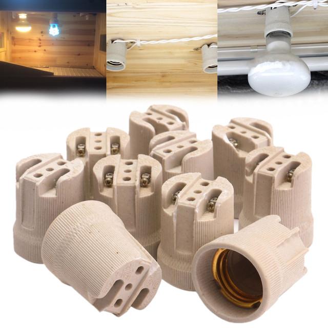 10Pcs E27 Screw Bulb ES27 LED Lamp Holder Porcelain Lampholder Ceramic Wall Led Lamp Base Sockets For Indoor Lighting Bases
