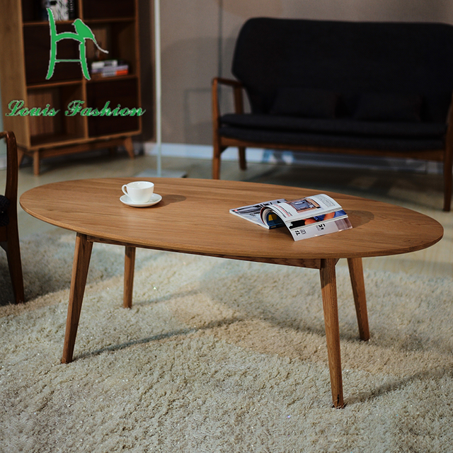 solid wood contracted nordic oval table japanese modern white oak wood coffee table furniture small family