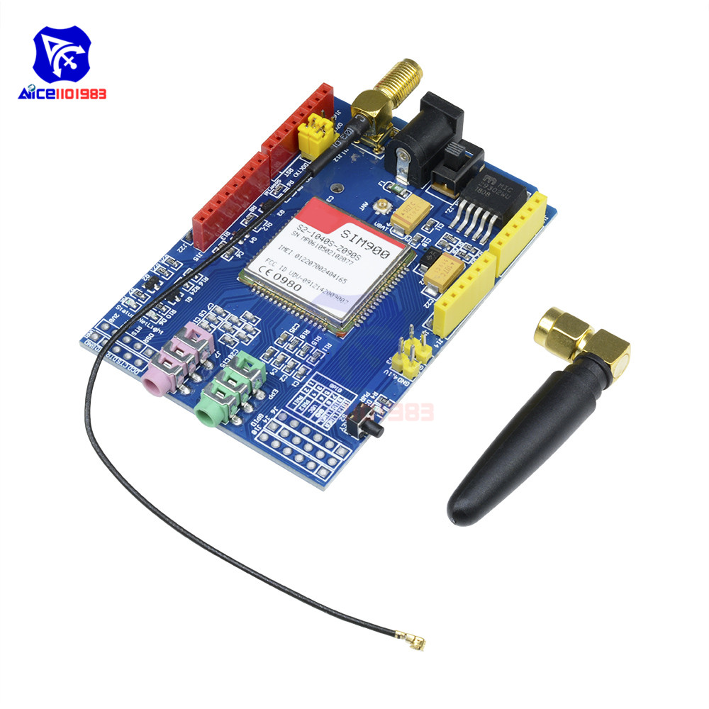 SIM900 850/900/1800/1900 <font><b>MHz</b></font> GPRS/GSM Development Board Module Kit for Arduino UNO GPIO PWM RTC with SIM Card Slot Antenna image