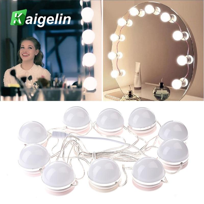 Makeup Wall Mirror LED Light Bulbs Kit White Light Table Makeup Mirror Bulbs Kit With Dimmer Power Supple Plug In