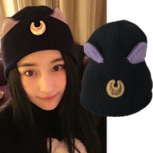9357a5c193b Anime Sailor Moon Luna Cat Cosplay Hat Winter Knitted Warm Cap