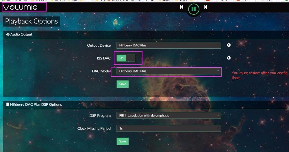Volumio DAC+ Configuration