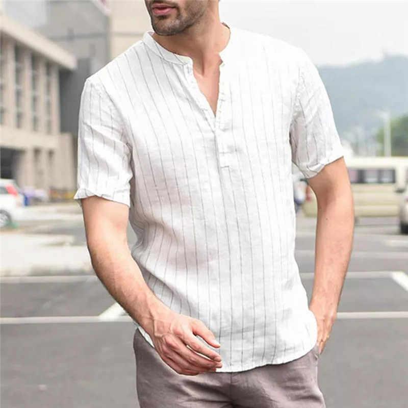 Womail シャツ男性夏の新ファッション半袖だぶだぶの綿リネンストライプボタンビーチシャツデイリーギフト高品質 2019