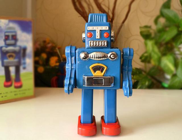 Retro Tin toy rare estaño reloj azul caminando robot colección
