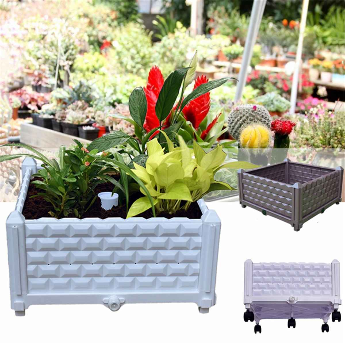 Planting Container Grow Bags Breathable Durable Plastic Planter Pot For Plants Nursery Pot Fabric Raised Garden Bed With Wheels|Nursery Pots| |  - title=