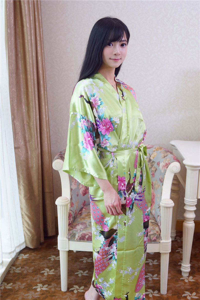 Elegant Flower China National Women Kimono Bath Gown Summer Faux Silk Robe Dress Summer Printed Long Nightwear One Size NB049