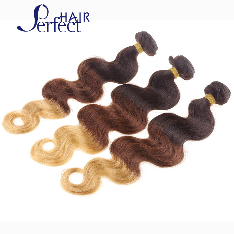 Ombre Brazilian Virgin Hair Body Wave Human Hair Extensions 3 Pcs Lot MOBB Hair Products two tone 1B#27# Blonde Hair Weave