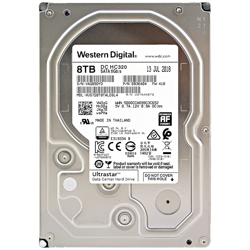 Western Digital 8 to 6 to 4 to 2 to 1 to Ultrastar DC HC320 SATA HDD-7200 tr/min classe SATA 6 Gb/s 512 mo Cache 3.5
