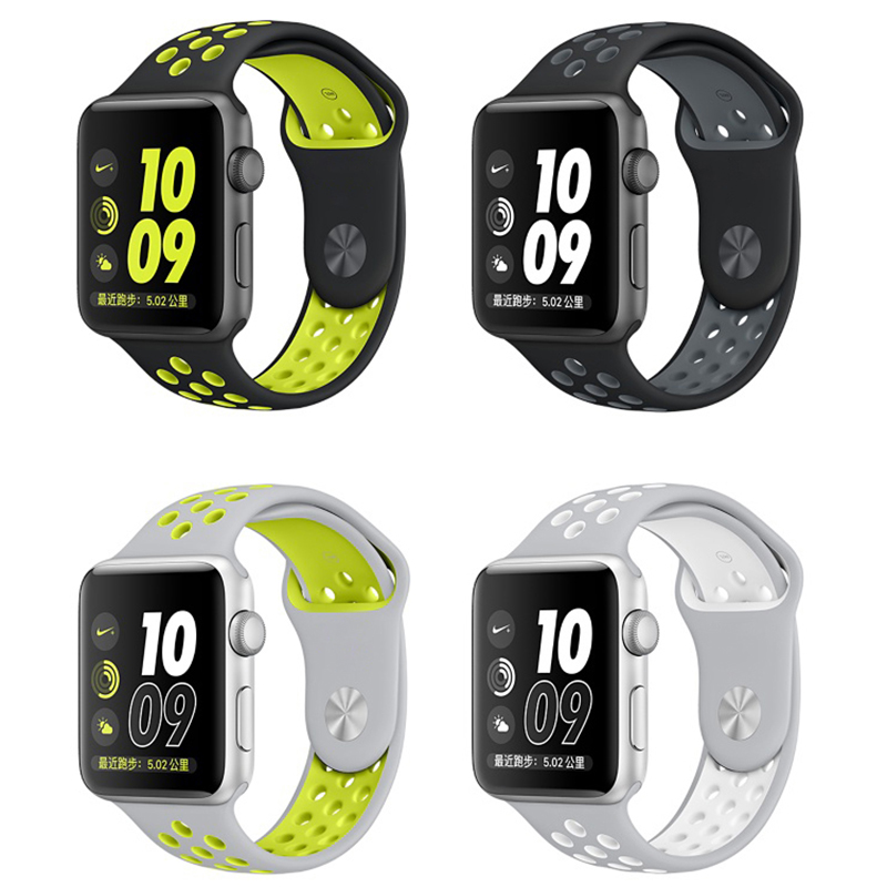For Apple Watch Strap Nike + Series 2 New Silicone Sports Band Strap Band 38m 42mm for iWatch Band Correa Bracelet 42mm nike nike fuelband sports bracelet battery cover green m