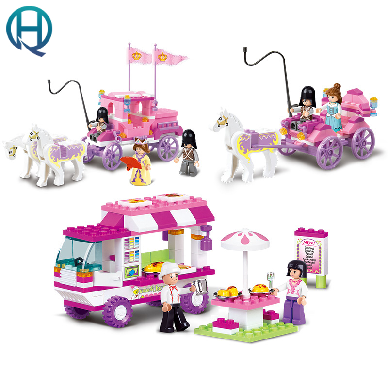Sluban Building Blocks Royal Princess Carriage Snack Car Compatible Legoe Friends Education Gift Toys for Girls