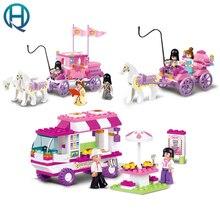 Sluban строительные блоки игрушки для девочек royal princess перевозки закуски автомобиля совместимость legoe друзей