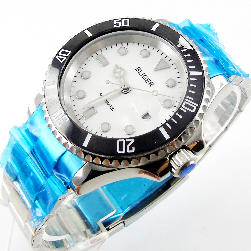 лучшая цена Bliger 40mm white dial date black Ceramics Bezel luminous saphire glass Automatic movement Men's watch