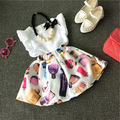 Baby Girl Clothing Sets 2015 Summer Style Children Kids Clothes T Shirt Tops +Skirt girl clothes dress Free Shipping 1-7Y