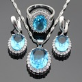 Blue White Created Topaz Stones Jewelry Sets Silver Color Earrings/Pendant/Necklace/Rings For Women Christmas Gift Free Box