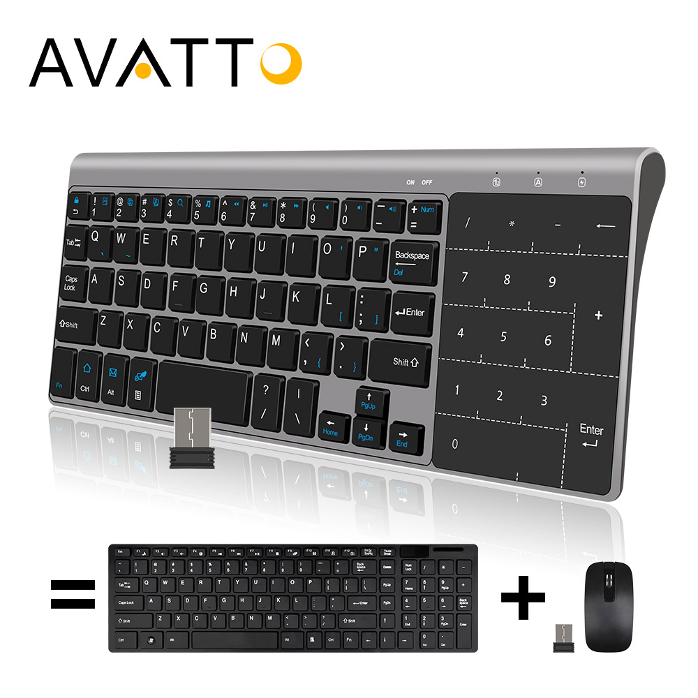 [AVATTO] Ultra-thin 2.4GHz Wireless Multimedia Mini Keyboard with Digtal Keypad Touchpad for Windows,Android,iOS,PC Laptop