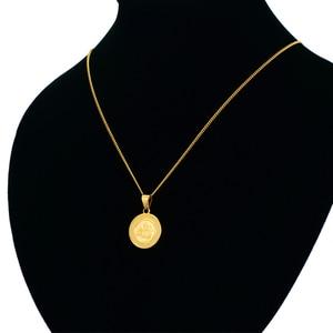 Image 4 - 이슬람 알라 목걸이 펜던트 남자 여자 Bijoux 골드 컬러 라운드 알라 목걸이 collares 이슬람 보석 Dropshipping XL645