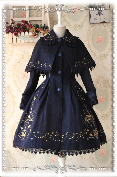 По индивидуальному заказу Инфанта Искусственный мех манжеты с длинным рукавом Fit And Flare Вышитые шерсть Лолита пальто с накидкой для девочек