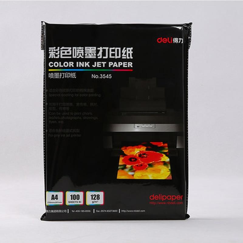 Купить с кэшбэком Deli 3545 matt/muted photo paper color ink jet paper A4 128g 100 sheets/bag printing photo paper suitable for inkjet printer