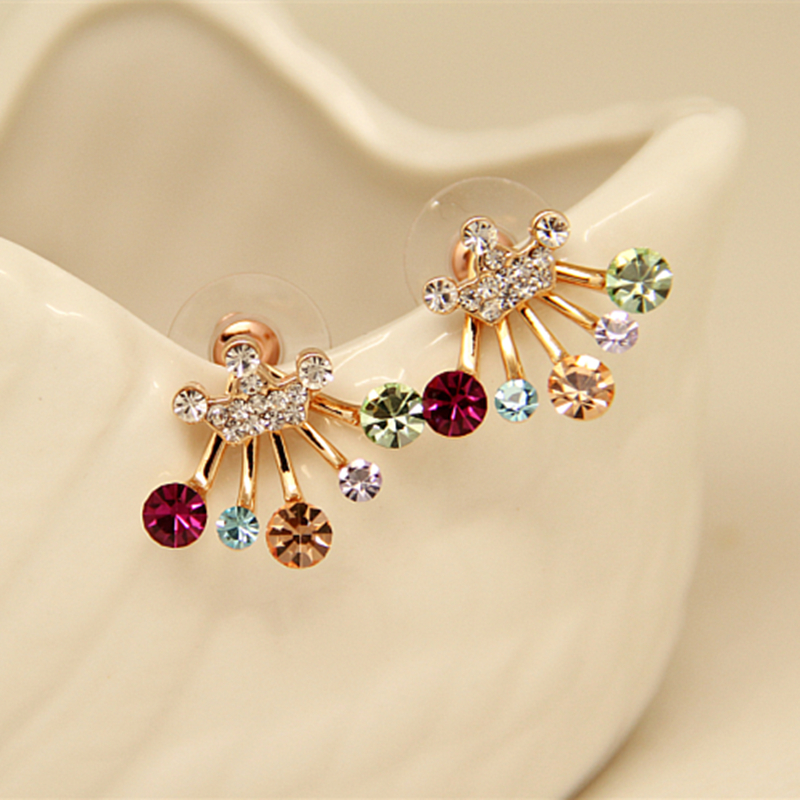 E0108 Fashion Jewelry Shining Red Green Crystal Rhinestone Stud Earrings Gold Color Crown Stud Earrings For Women Exquisite Gift starry pattern gold plated alloy rhinestone stud earrings for women pink pair