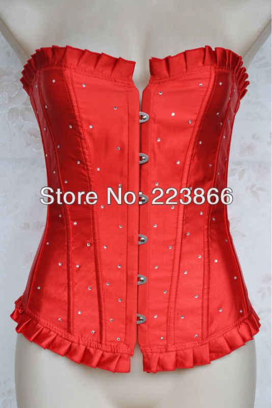 Красные Сатиновые свадебные туфли со стразами корсет со шнуровкой Overbust Корсеты и бюстье пикантный костюм для вечеринки Плюс Размер S M L XL 2XL 3XL 4XL 5XL 6XL