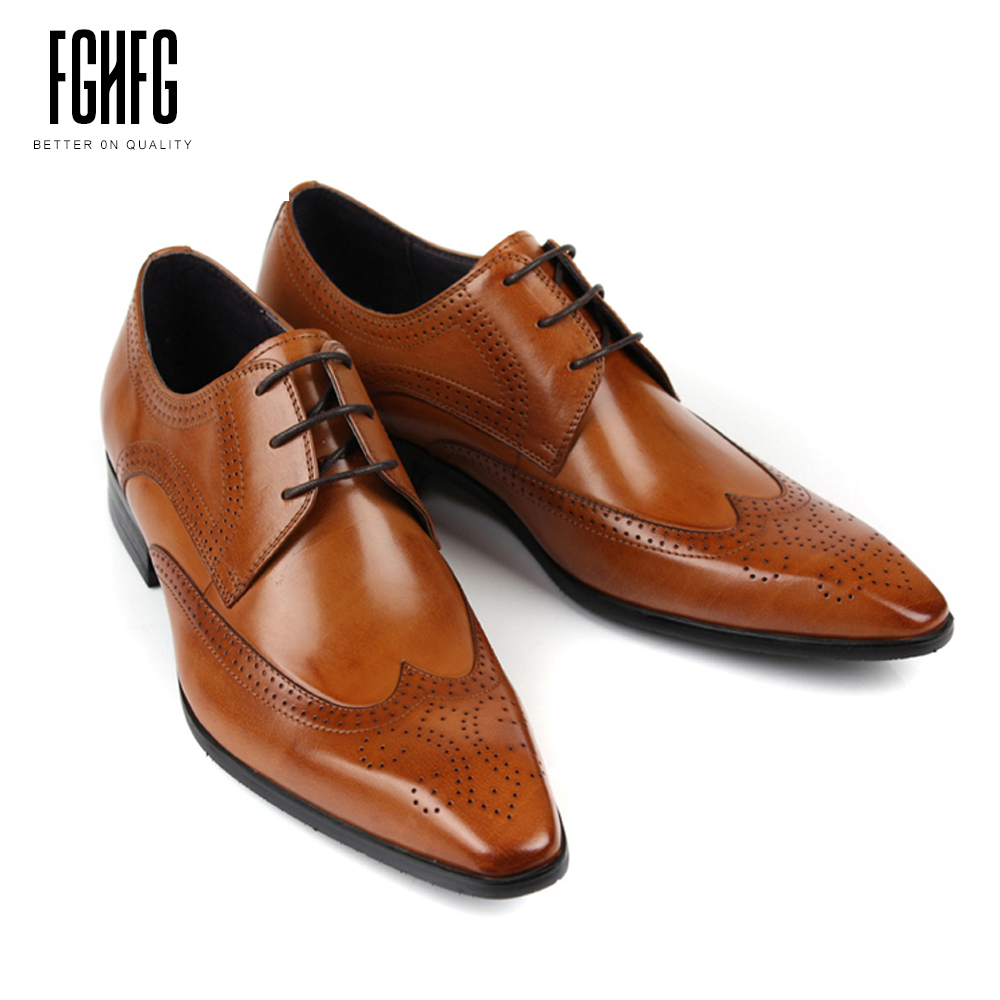 Classic Men's Genuine Leather Shoes Cowhide Leather Pig Inner Pointed Toe Brogue Dress Wedding Business Shoes 2018 New Fashion classic men s genuine leather shoes cowhide leather pig inner pointed toe derby dress wedding business shoes 2018 fashion