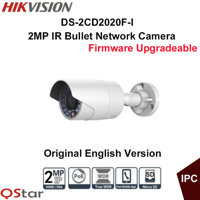 Hikvision Original English Surveillance Camera DS-2CD2020F-I POE 2MP IR Bullet IP Camera 30m Onvif CCTV Camera outdoor IP67 original tm5rq 2020 50