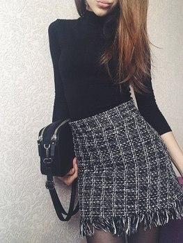 Vintage Style Woolen Mini Skirt