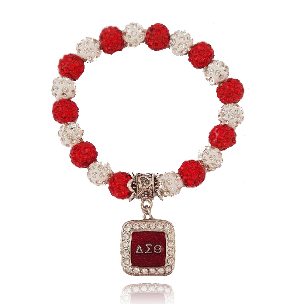 red and white crystal bead charm bracelet DST sister bead charm stretch bracelet Jewelry git ornament