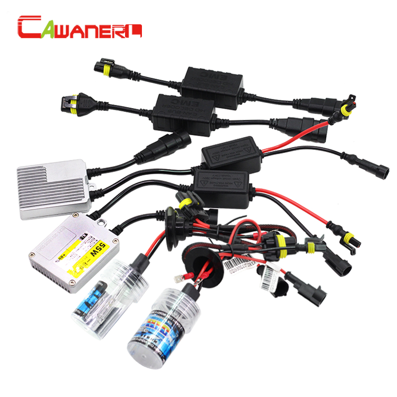 Cawanerl 9005 9006 880 881 H1 H3 H7 H8 H9 H11 55W Car Headlight HID Xenon Kit 10000K AC Ballast Bulb Canbus Harness No Flicker buildreamen2 55w 9005 9006 h1 h3 h7 h8 h9 h11 880 881 hid xenon kit ac ballast bulb 10000k blue car headlight lamp fog light