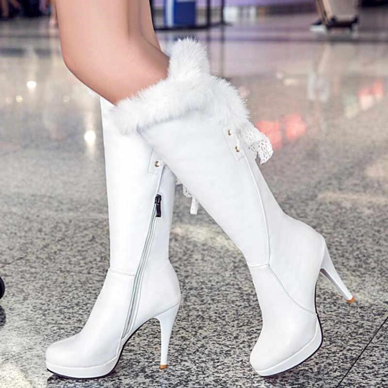 Kış tavşan saç çılgınlığı su geçirmez yüksek topuklu beyaz yüksek silindir çizmeler ince ve ince seksi moda şövalye kadınlar çizmeler