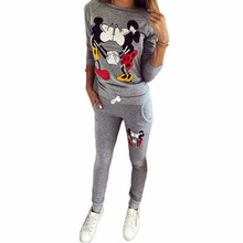 2017 Winter 2 pieces Women's Hoodies Mickey Printed Brand Tracksuit Sportwear Costumes Long Pants Mujer Sudaderas Set Suit Brand