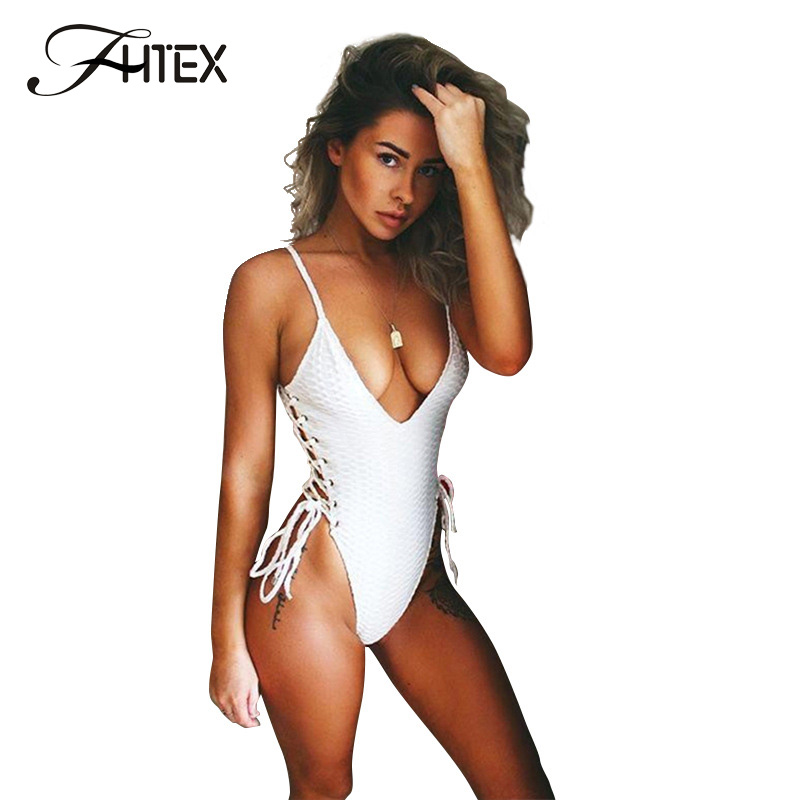 FHTEX Women Sexy Deep V Neck Side Lace Up Hollow Out Bodysuit Fashion Spaghetti Strap Slim Casual Rompers Tight Overall
