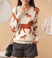 Especially Under The 2017 Spring Tee Towel Horse Ladies Sweater Loose Long Sleeved Sweater Coat Female