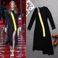 Más el Tamaño XXL Mujeres Del Diseño Único de Manga Larga Moda Otoño Patchwork Asimétrica Vestido Runway Delgado Vestidos Negros de Alta Calidad