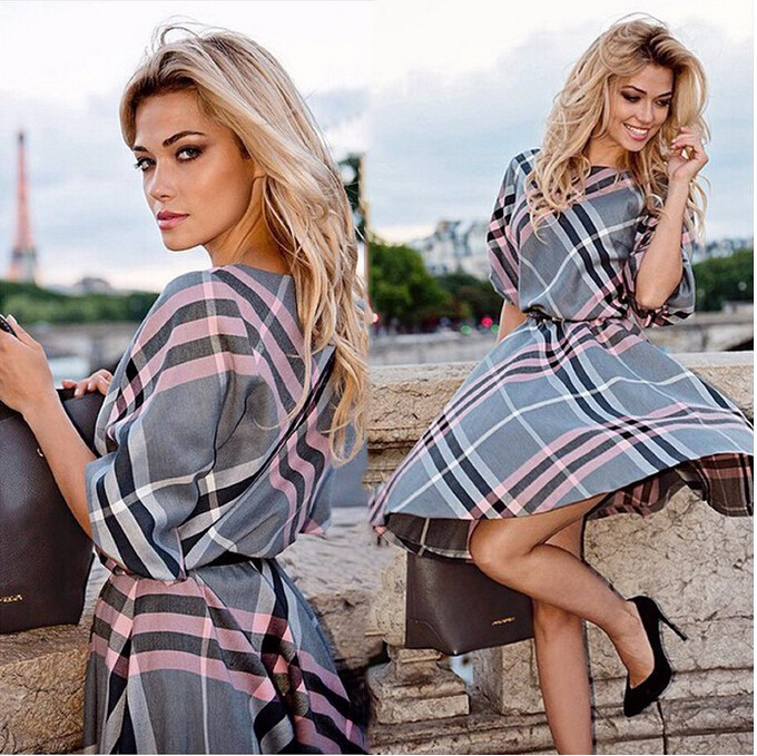 Buy Cheap tumn 2017 new fashion women plaid print dress casual o-neck half sleeve tunic vintage dresses plus size