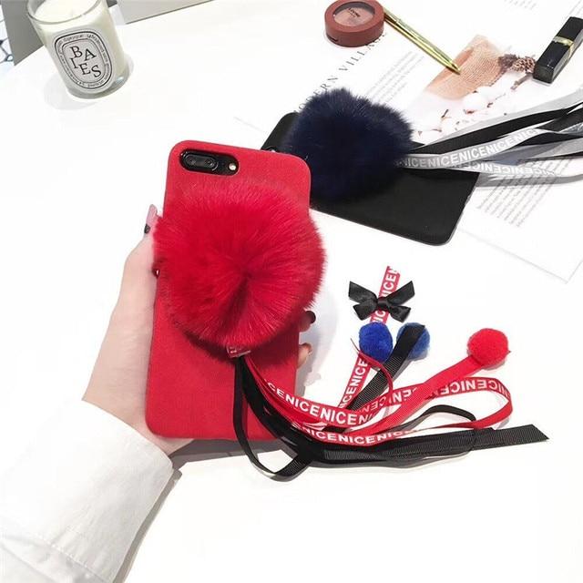 Commercio all\'ingrosso OEM 3D Fox Capelli Sfera Nastro Invernali Tocco  Caldo Alloggiamento Del Telefono Mobile Per iPhone7 7 Plus Guscio  Protettivo ...