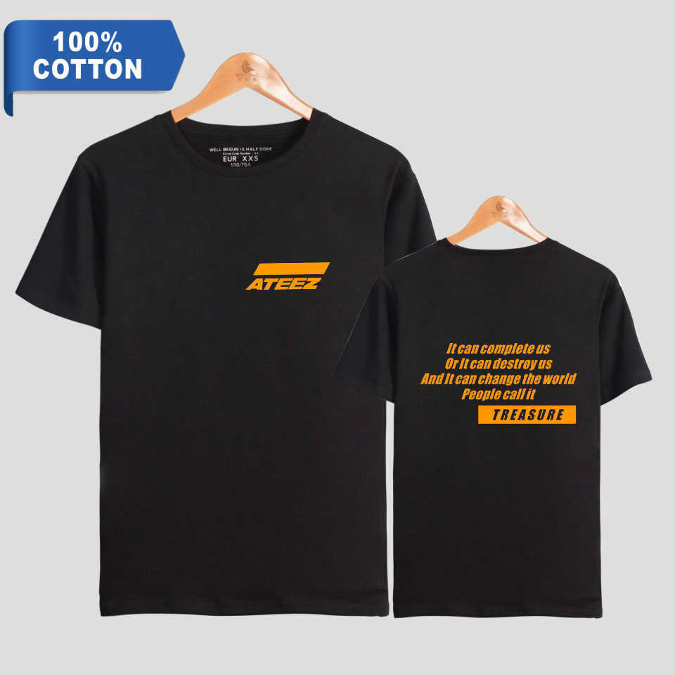 new  harajuku Summer explosion 100% Cotton t shirt ATEEZ Print Women Clothes 2019 Casual Short Sleeve t-shirt Kpops tshirt
