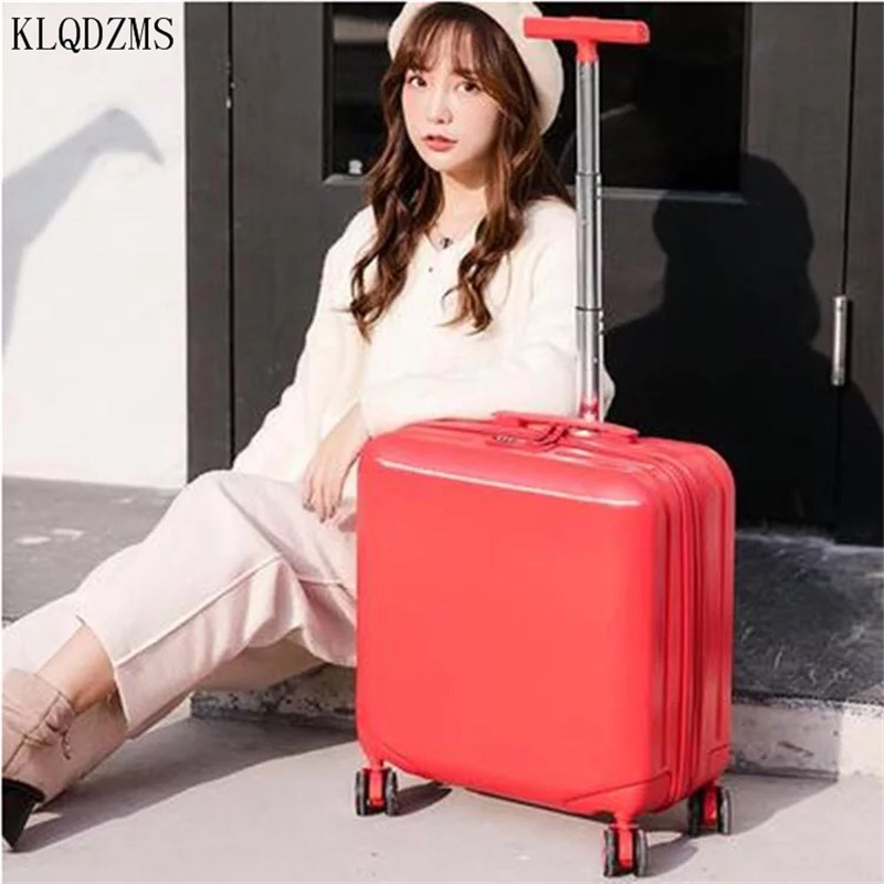 KLQDZMS 18inch  Boarding Box ABS+PC  Rolling Luggage Spinner Trolley Case Girls Travel Suitcase Wheels