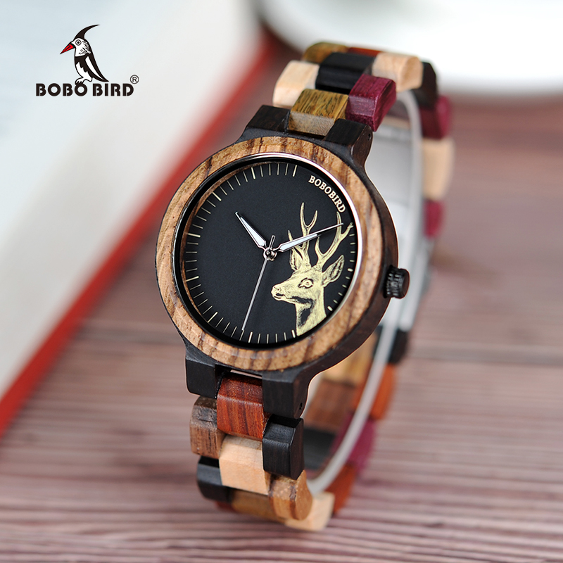 BOBO BIRD Lovers' Casual Quartz Watches Elk Design Natural Wooden Watch for Men Women with Mixed Colorful Wood Band in Gift Box bobo bird wh05 brand design classic ebony wooden mens watch full wood strap quartz watches lightweight gift for men in wood box