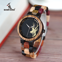BOBO BIRD Lovers Casual Quartz Watches Elk Design Natural Wooden Watch For Men Women With Mixed
